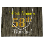 [ Thumbnail: Faux Wood Look, Faux Gold 58th Birthday + Name Gift Bag ]