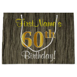 [ Thumbnail: Faux Wood Look, Faux Gold 60th Birthday + Name Gift Bag ]