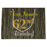 [ Thumbnail: Faux Wood Look, Faux Gold 62nd Birthday + Name Gift Bag ]