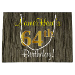 [ Thumbnail: Faux Wood Look, Faux Gold 64th Birthday + Name Gift Bag ]