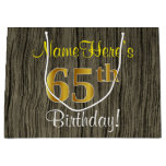 [ Thumbnail: Faux Wood Look, Faux Gold 65th Birthday + Name Gift Bag ]
