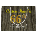 [ Thumbnail: Faux Wood Look, Faux Gold 66th Birthday + Name Gift Bag ]