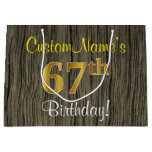 [ Thumbnail: Faux Wood Look, Faux Gold 67th Birthday + Name Gift Bag ]