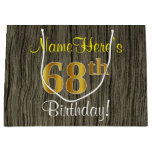 [ Thumbnail: Faux Wood Look, Faux Gold 68th Birthday + Name Gift Bag ]