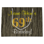 [ Thumbnail: Faux Wood Look, Faux Gold 69th Birthday + Name Gift Bag ]