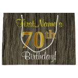 [ Thumbnail: Faux Wood Look, Faux Gold 70th Birthday + Name Gift Bag ]