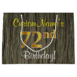 [ Thumbnail: Faux Wood Look, Faux Gold 72nd Birthday + Name Gift Bag ]