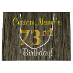 [ Thumbnail: Faux Wood Look, Faux Gold 73rd Birthday + Name Gift Bag ]