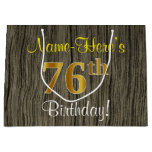[ Thumbnail: Faux Wood Look, Faux Gold 76th Birthday + Name Gift Bag ]
