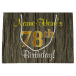 [ Thumbnail: Faux Wood Look, Faux Gold 78th Birthday + Name Gift Bag ]