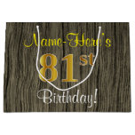 [ Thumbnail: Faux Wood Look, Faux Gold 81st Birthday + Name Gift Bag ]