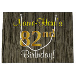 [ Thumbnail: Faux Wood Look, Faux Gold 82nd Birthday + Name Gift Bag ]
