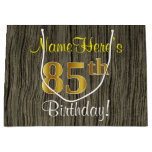 [ Thumbnail: Faux Wood Look, Faux Gold 85th Birthday + Name Gift Bag ]