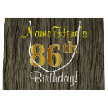 [ Thumbnail: Faux Wood Look, Faux Gold 86th Birthday + Name Gift Bag ]