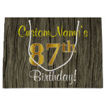 [ Thumbnail: Faux Wood Look, Faux Gold 87th Birthday + Name Gift Bag ]