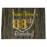 [ Thumbnail: Faux Wood Look, Faux Gold 88th Birthday + Name Gift Bag ]