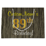 [ Thumbnail: Faux Wood Look, Faux Gold 89th Birthday + Name Gift Bag ]