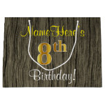 [ Thumbnail: Faux Wood Look, Faux Gold 8th Birthday + Name Gift Bag ]