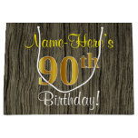[ Thumbnail: Faux Wood Look, Faux Gold 90th Birthday + Name Gift Bag ]