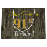 [ Thumbnail: Faux Wood Look, Faux Gold 91st Birthday + Name Gift Bag ]