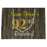 [ Thumbnail: Faux Wood Look, Faux Gold 92nd Birthday + Name Gift Bag ]