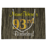 [ Thumbnail: Faux Wood Look, Faux Gold 93rd Birthday + Name Gift Bag ]
