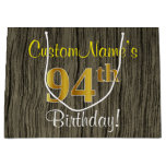 [ Thumbnail: Faux Wood Look, Faux Gold 94th Birthday + Name Gift Bag ]