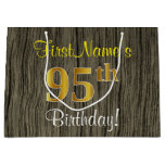 [ Thumbnail: Faux Wood Look, Faux Gold 95th Birthday + Name Gift Bag ]