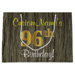 [ Thumbnail: Faux Wood Look, Faux Gold 96th Birthday + Name Gift Bag ]