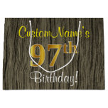 [ Thumbnail: Faux Wood Look, Faux Gold 97th Birthday + Name Gift Bag ]