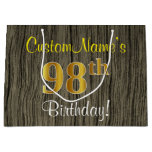 [ Thumbnail: Faux Wood Look, Faux Gold 98th Birthday + Name Gift Bag ]