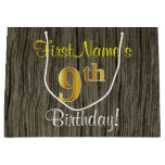 [ Thumbnail: Faux Wood Look, Faux Gold 9th Birthday + Name Gift Bag ]
