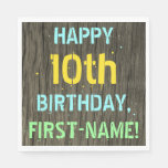 [ Thumbnail: Faux Wood, Painted Text Look, 10th Birthday + Name Napkin ]