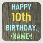 [ Thumbnail: Faux Wood, Painted Text Look, 10th Birthday + Name Sticker ]