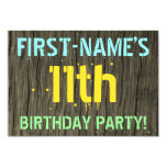 [ Thumbnail: Faux Wood, Painted Text Look, 11th Birthday + Name Invitation ]