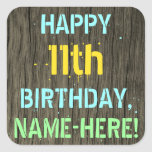 [ Thumbnail: Faux Wood, Painted Text Look, 11th Birthday + Name Sticker ]