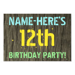 [ Thumbnail: Faux Wood, Painted Text Look, 12th Birthday + Name Invitation ]