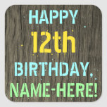 [ Thumbnail: Faux Wood, Painted Text Look, 12th Birthday + Name Sticker ]