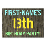 [ Thumbnail: Faux Wood, Painted Text Look, 13th Birthday + Name Invitation ]