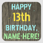 [ Thumbnail: Faux Wood, Painted Text Look, 13th Birthday + Name Sticker ]