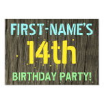 [ Thumbnail: Faux Wood, Painted Text Look, 14th Birthday + Name Invitation ]