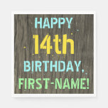[ Thumbnail: Faux Wood, Painted Text Look, 14th Birthday + Name Napkin ]