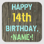 [ Thumbnail: Faux Wood, Painted Text Look, 14th Birthday + Name Sticker ]
