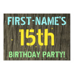 [ Thumbnail: Faux Wood, Painted Text Look, 15th Birthday + Name Invitation ]