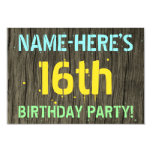 [ Thumbnail: Faux Wood, Painted Text Look, 16th Birthday + Name Invitation ]