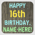 [ Thumbnail: Faux Wood, Painted Text Look, 16th Birthday + Name Sticker ]