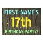 [ Thumbnail: Faux Wood, Painted Text Look, 17th Birthday + Name Invitation ]
