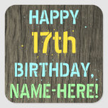 [ Thumbnail: Faux Wood, Painted Text Look, 17th Birthday + Name Sticker ]