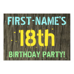 [ Thumbnail: Faux Wood, Painted Text Look, 18th Birthday + Name Invitation ]