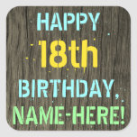 [ Thumbnail: Faux Wood, Painted Text Look, 18th Birthday + Name Sticker ]